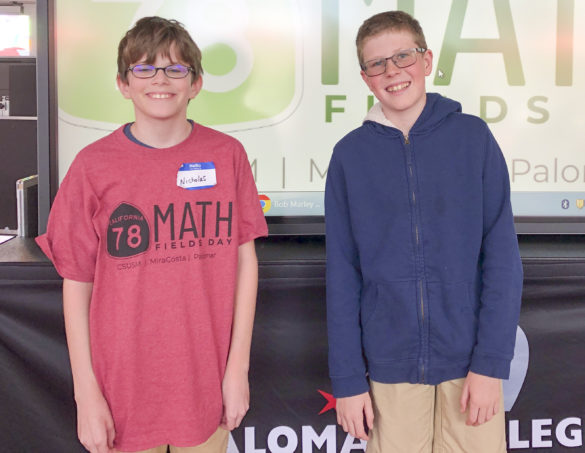 Nicholas Pasetto, 11, left, won the calculus 1 category and 12-year-old Gavin Glenn, right, took third place in the precalculus category at the inaugural HWY 78 Math Fields Day event on March 7 at Palomar College. Photo by Kirk Mattu