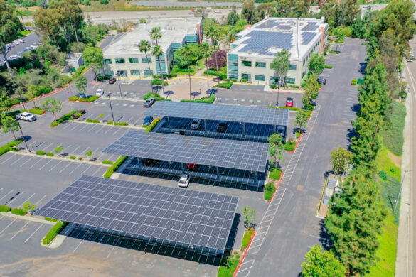 EDF Renewables will design and build an integrated solar and storage energy solution for Cox Communications in San Diego.  Photo of similar solution at EDFR Solar Innovation Corporate Campus by J.Dixx Photography.
